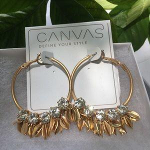 Jewelry - Canvas hoop earrings with rhinestones